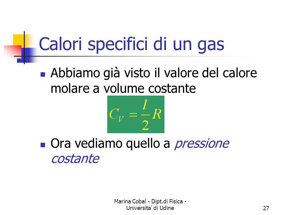Calori specifici di un gas