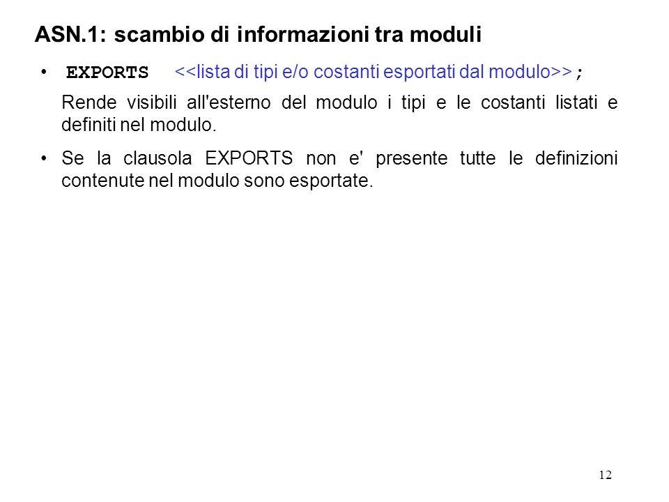 ASN.1: scambio di informazioni tra moduli