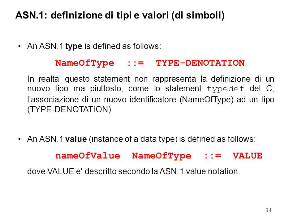 ASN.1: definizione di tipi e valori (di simboli)
