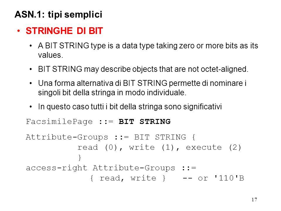 ASN.1: tipi semplici STRINGHE DI BIT FacsimilePage ::= BIT STRING