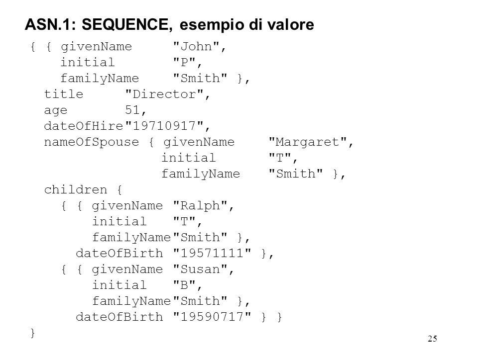 ASN.1: SEQUENCE, esempio di valore