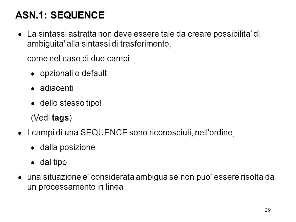 ASN.1: SEQUENCE La sintassi astratta non deve essere tale da creare possibilita di ambiguita alla sintassi di trasferimento,
