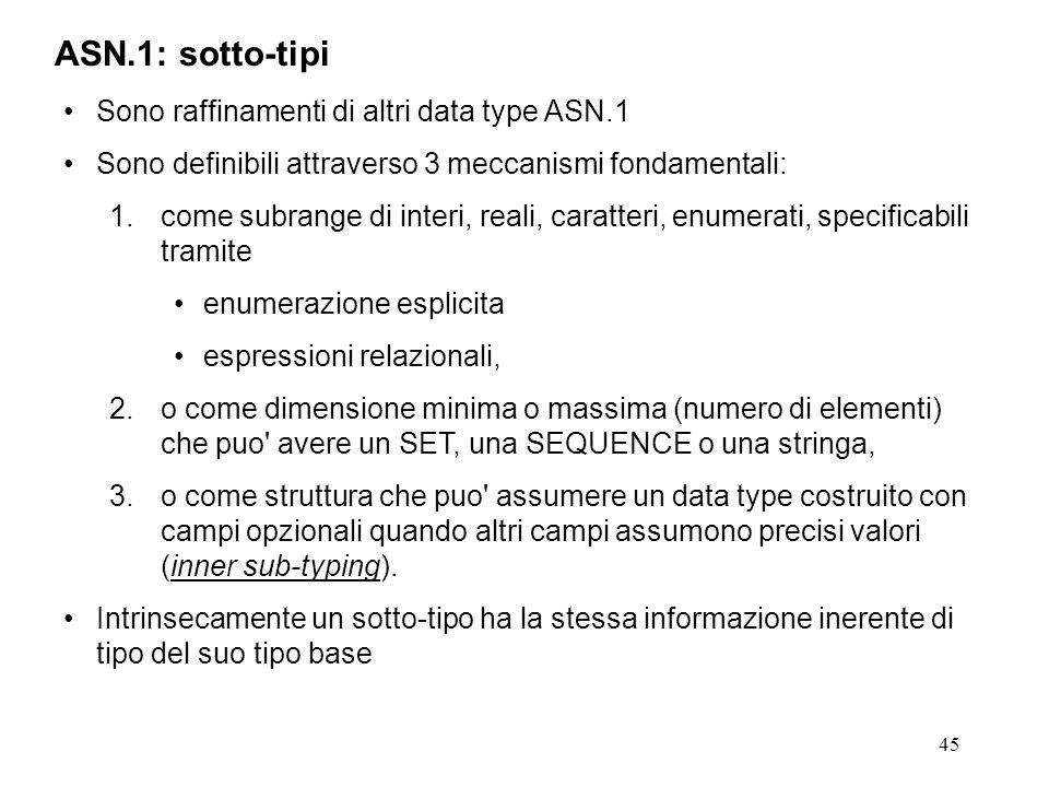 ASN.1: sotto-tipi Sono raffinamenti di altri data type ASN.1