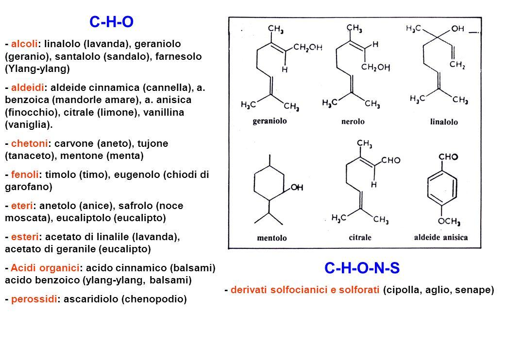 C-H-O - alcoli: linalolo (lavanda), geraniolo (geranio), santalolo (sandalo), farnesolo (Ylang-ylang)