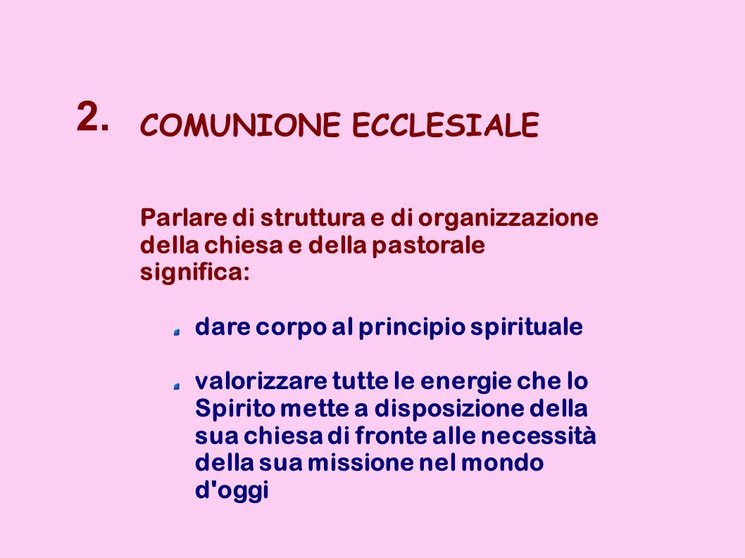 2. COMUNIONE ECCLESIALE. Parlare di struttura e di organizzazione della chiesa e della pastorale. significa: