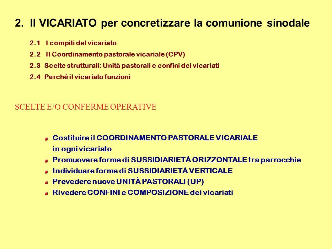 2. Il VICARIATO per concretizzare la comunione sinodale