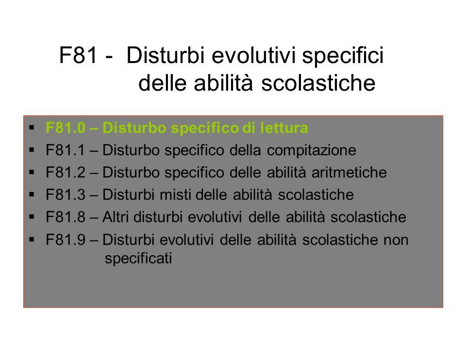 F81 - Disturbi evolutivi specifici delle abilità scolastiche