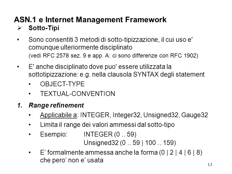 ASN.1 e Internet Management Framework
