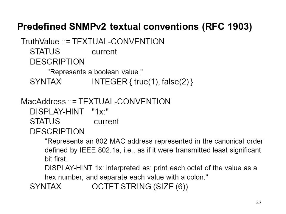 Predefined SNMPv2 textual conventions (RFC 1903)