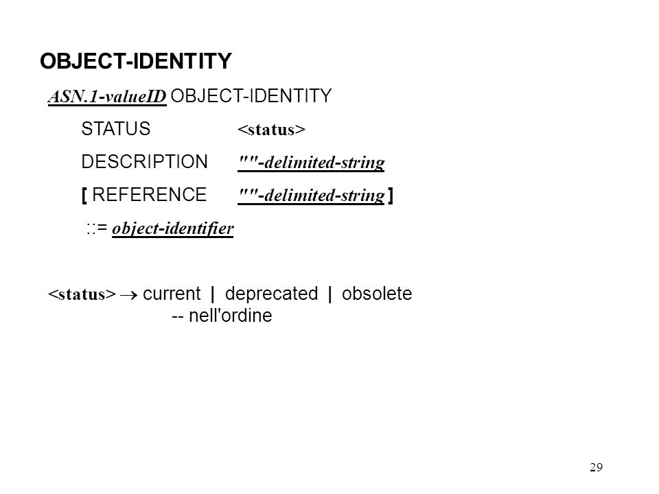 OBJECT-IDENTITY ASN.1-valueID OBJECT-IDENTITY STATUS <status>