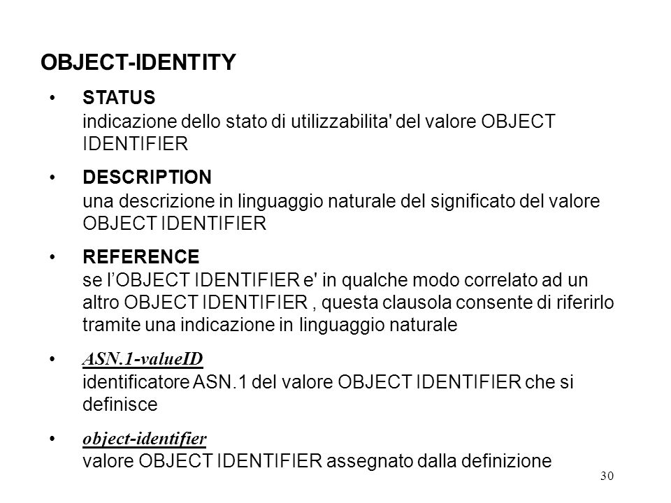 OBJECT-IDENTITY STATUS