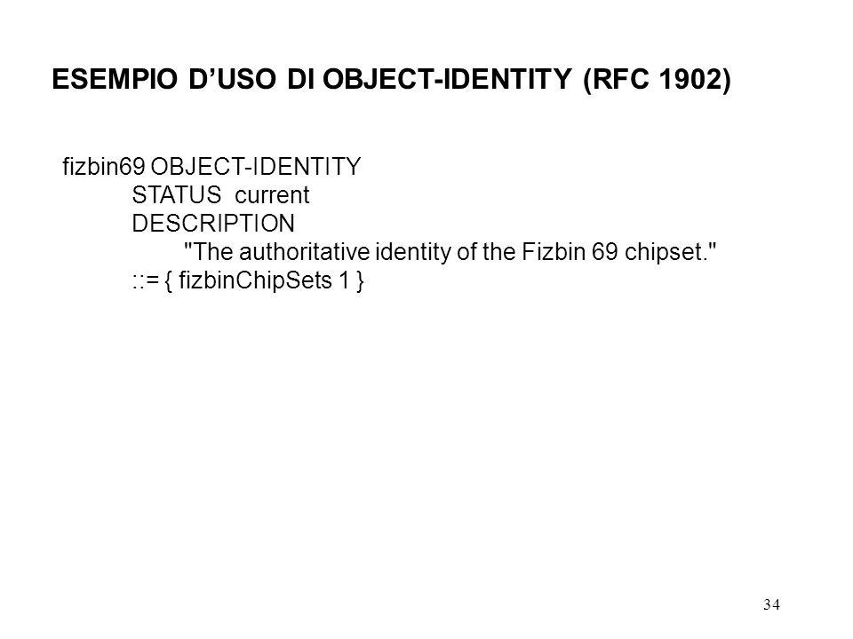 ESEMPIO D'USO DI OBJECT-IDENTITY (RFC 1902)