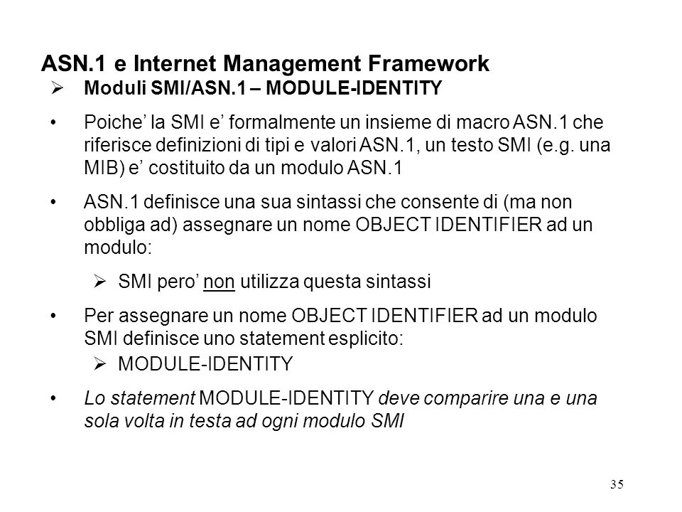 ASN.1 e Internet Management Framework