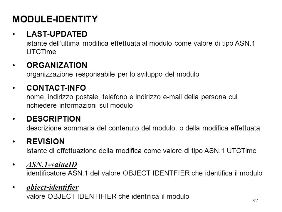 MODULE-IDENTITY LAST-UPDATED ORGANIZATION CONTACT-INFO DESCRIPTION