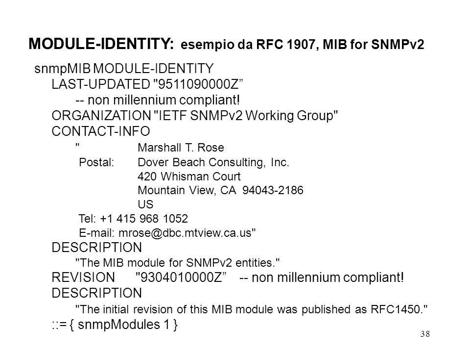 MODULE-IDENTITY: esempio da RFC 1907, MIB for SNMPv2