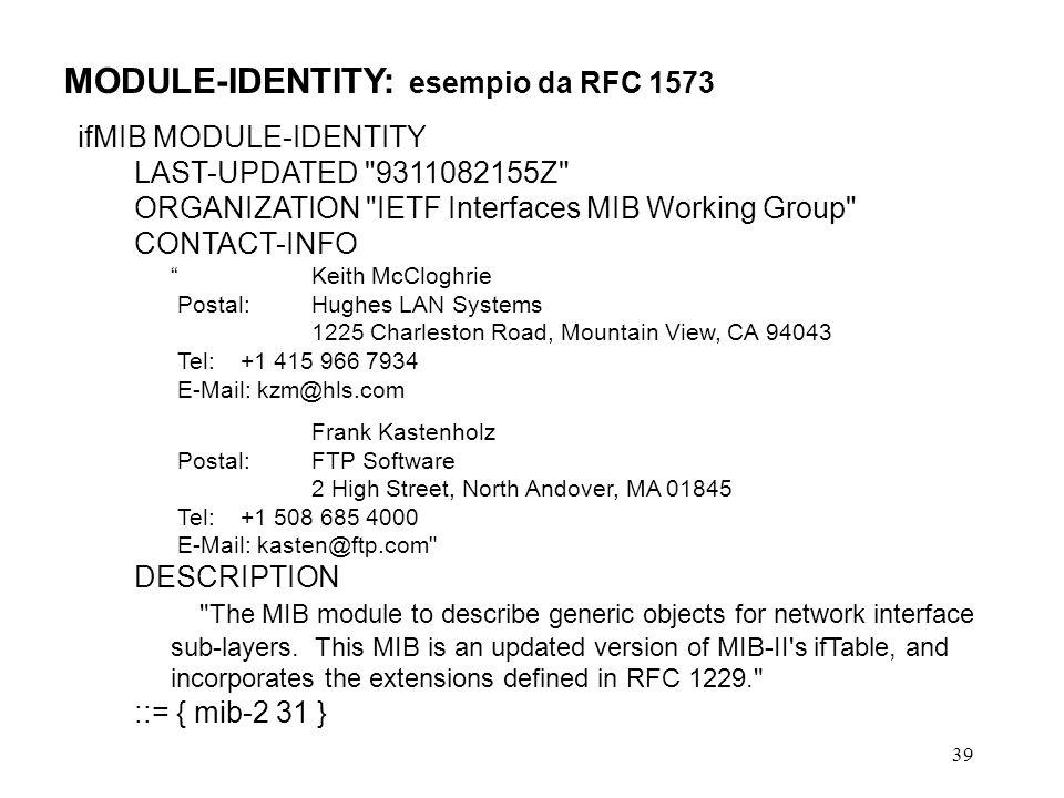 MODULE-IDENTITY: esempio da RFC 1573