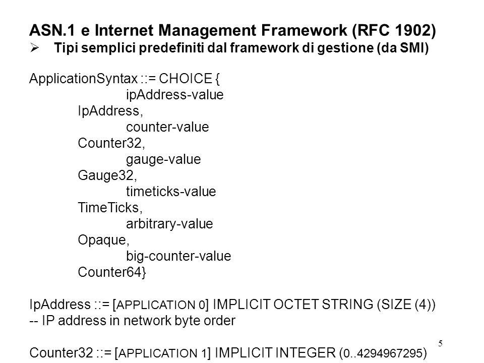 ASN.1 e Internet Management Framework (RFC 1902)