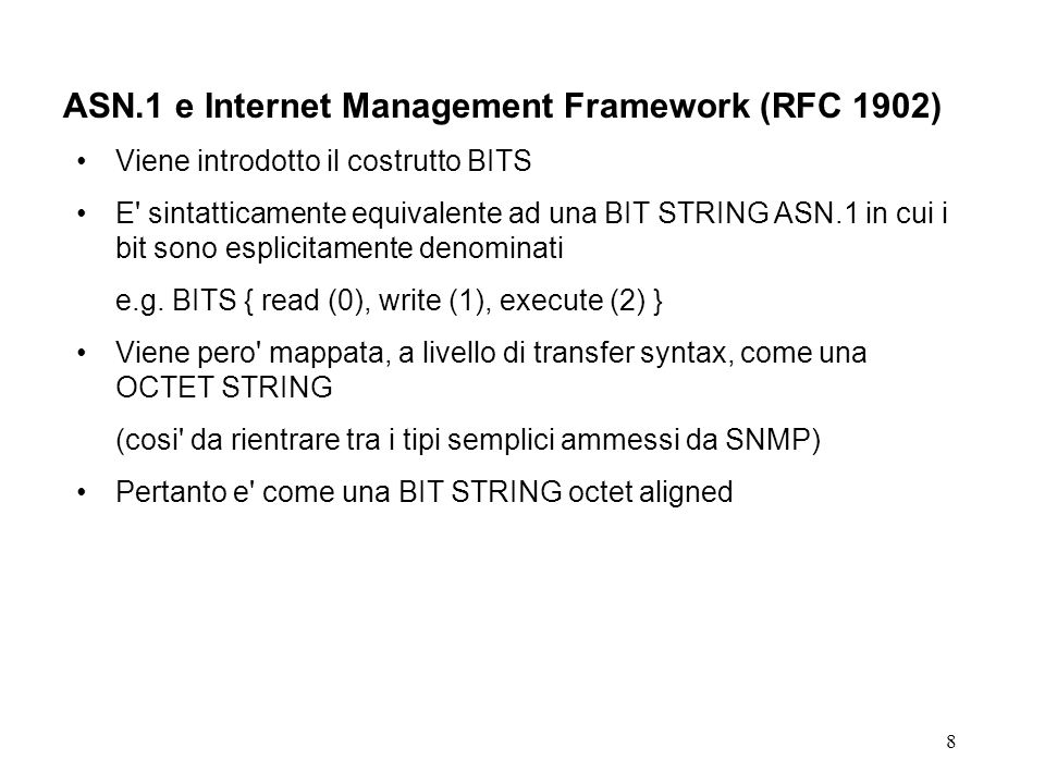 ASN.1 e Internet Management Framework (RFC 1902)