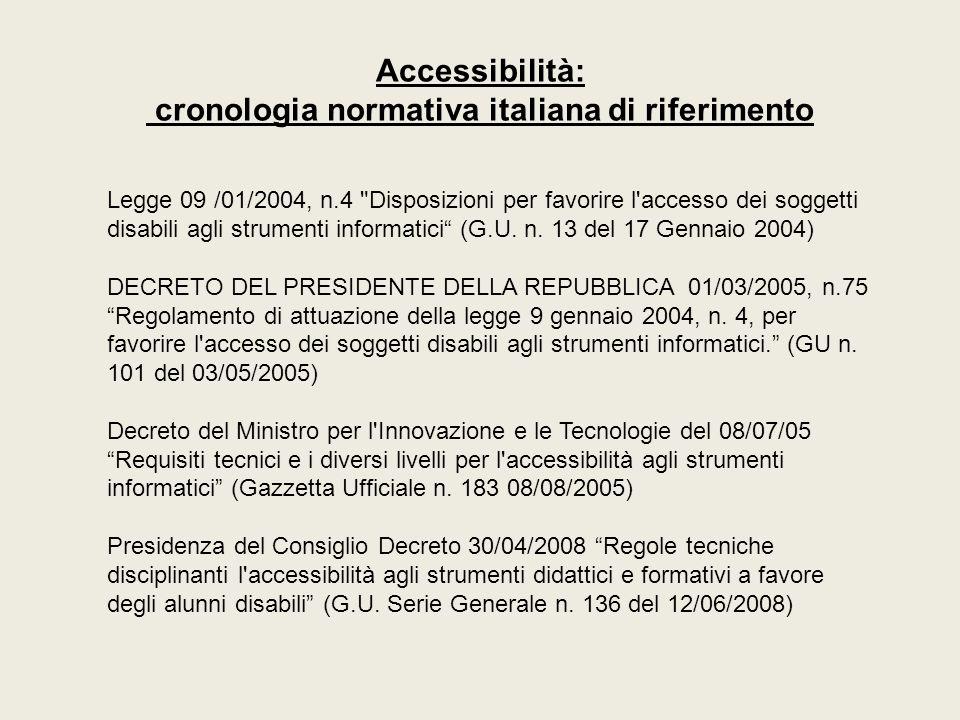 Accessibilità: cronologia normativa italiana di riferimento