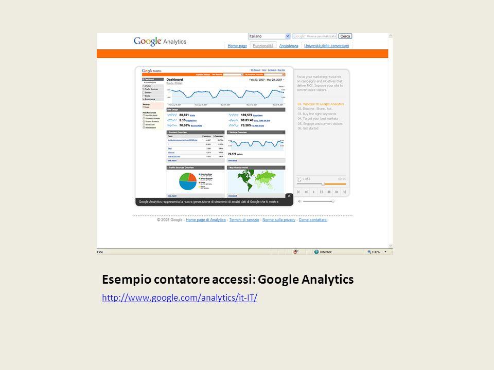 Esempio contatore accessi: Google Analytics