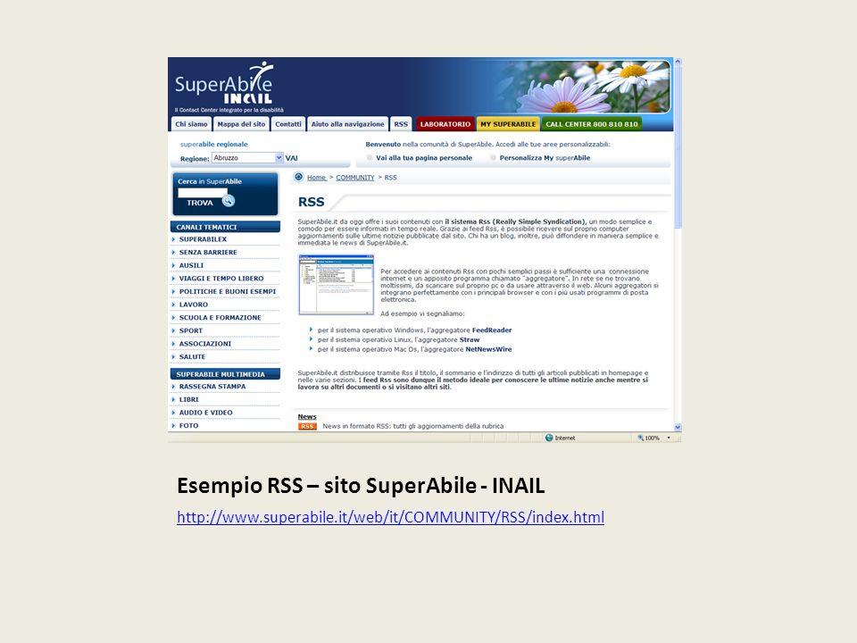 Esempio RSS – sito SuperAbile - INAIL