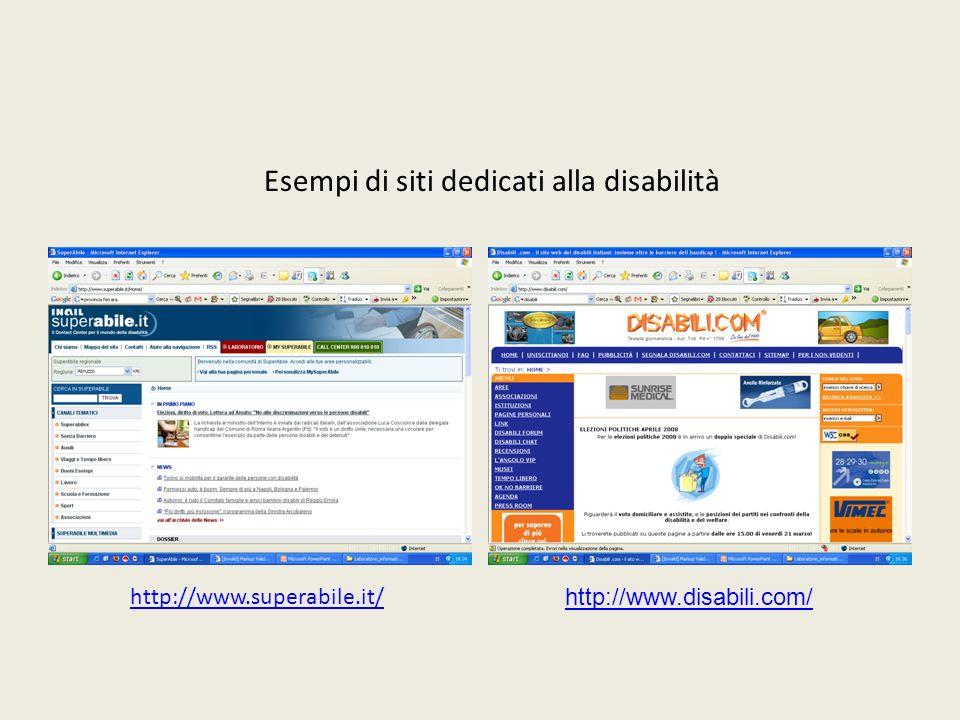 Esempi di siti dedicati alla disabilità