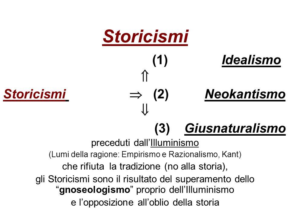 Storicismi (1) Idealismo  Storicismi  (2) Neokantismo 