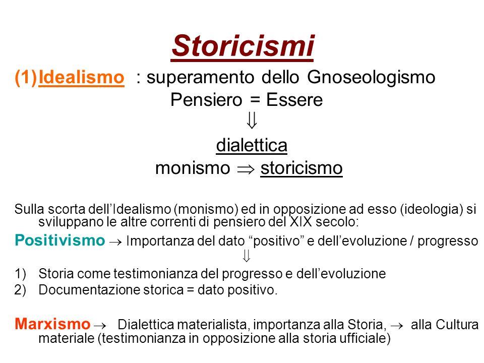 Storicismi Idealismo : superamento dello Gnoseologismo