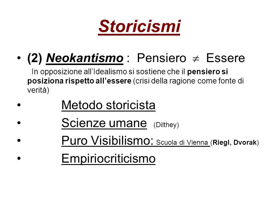 Storicismi (2) Neokantismo : Pensiero  Essere Metodo storicista
