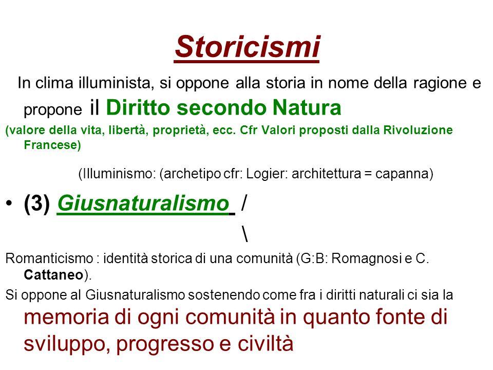Storicismi In clima illuminista, si oppone alla storia in nome della ragione e propone il Diritto secondo Natura.