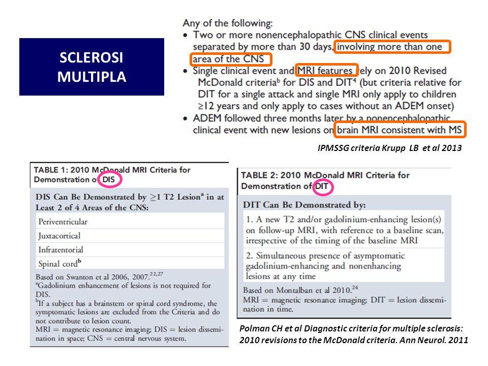 SCLEROSI MULTIPLA IPMSSG criteria Krupp LB et al 2013