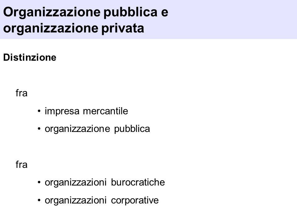 Organizzazione pubblica e organizzazione privata