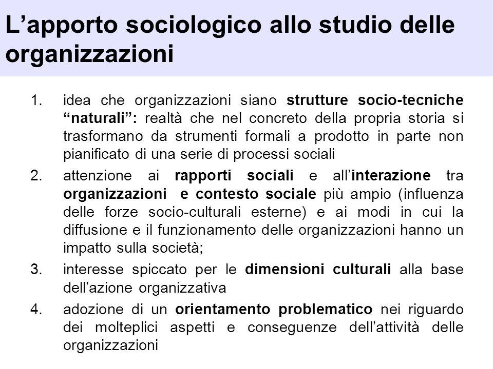 L'apporto sociologico allo studio delle organizzazioni