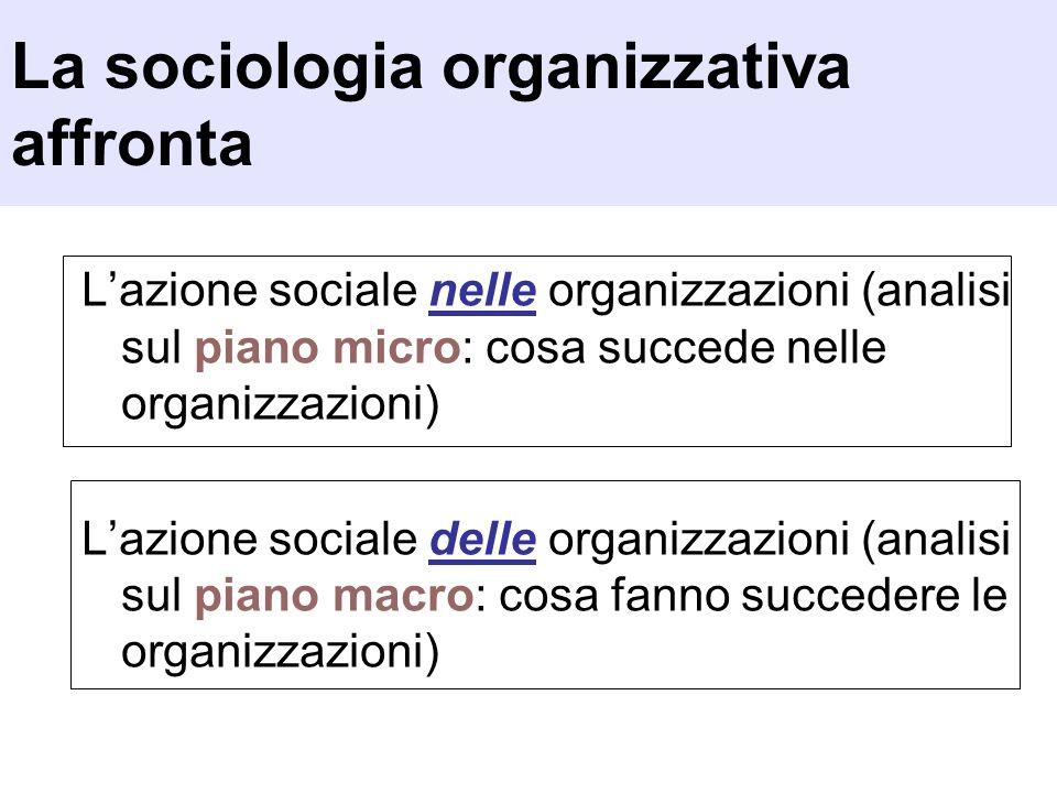 La sociologia organizzativa affronta