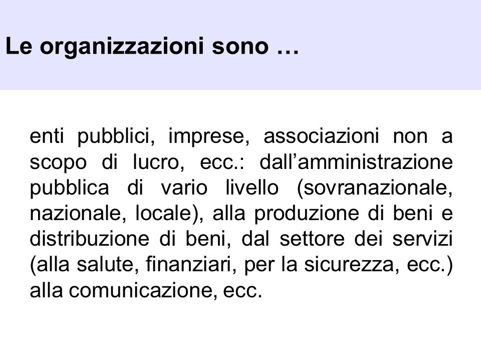 Le organizzazioni sono …