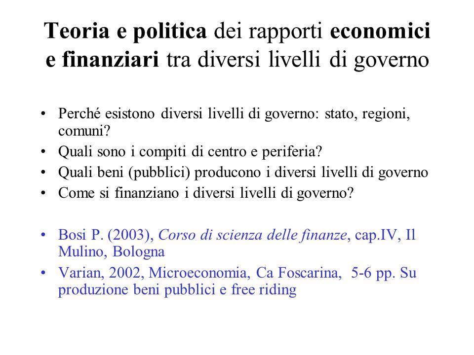 Teoria e politica dei rapporti economici e finanziari tra diversi livelli di governo