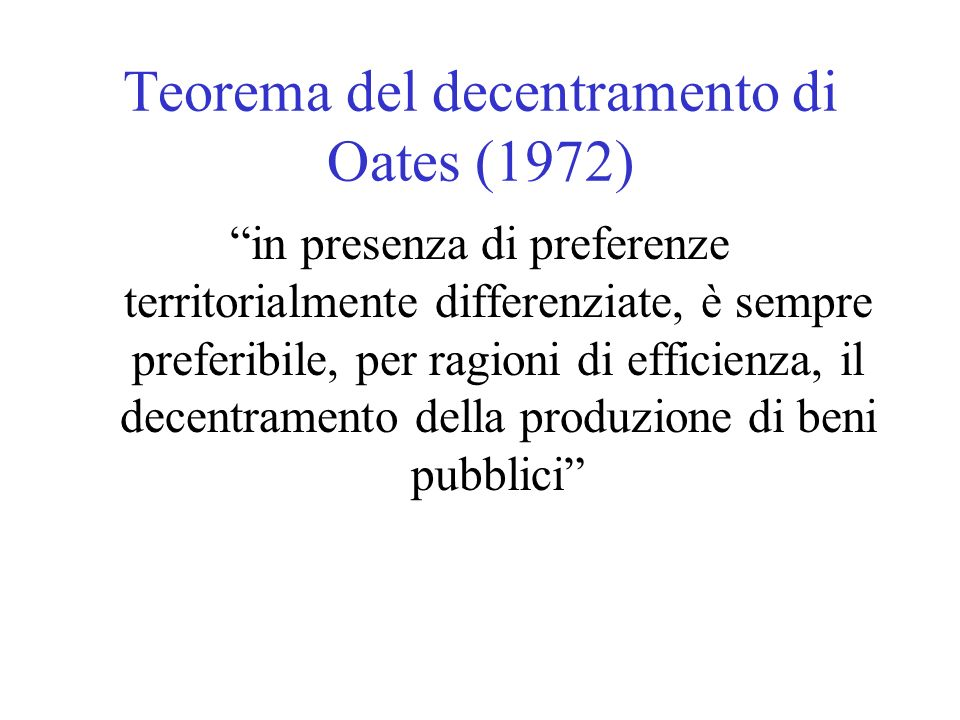 Teorema del decentramento di Oates (1972)
