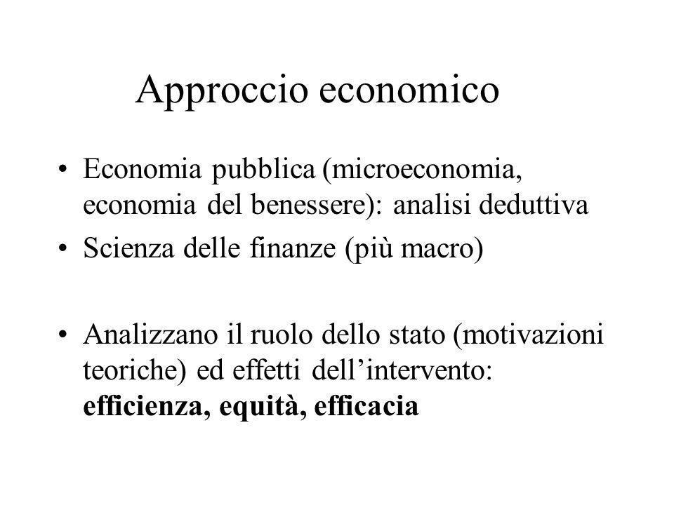 Approccio economico Economia pubblica (microeconomia, economia del benessere): analisi deduttiva. Scienza delle finanze (più macro)