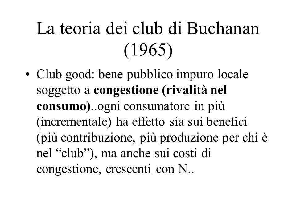 La teoria dei club di Buchanan (1965)