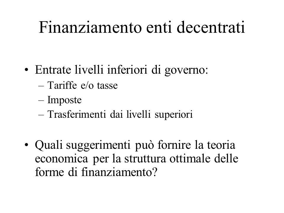 Finanziamento enti decentrati