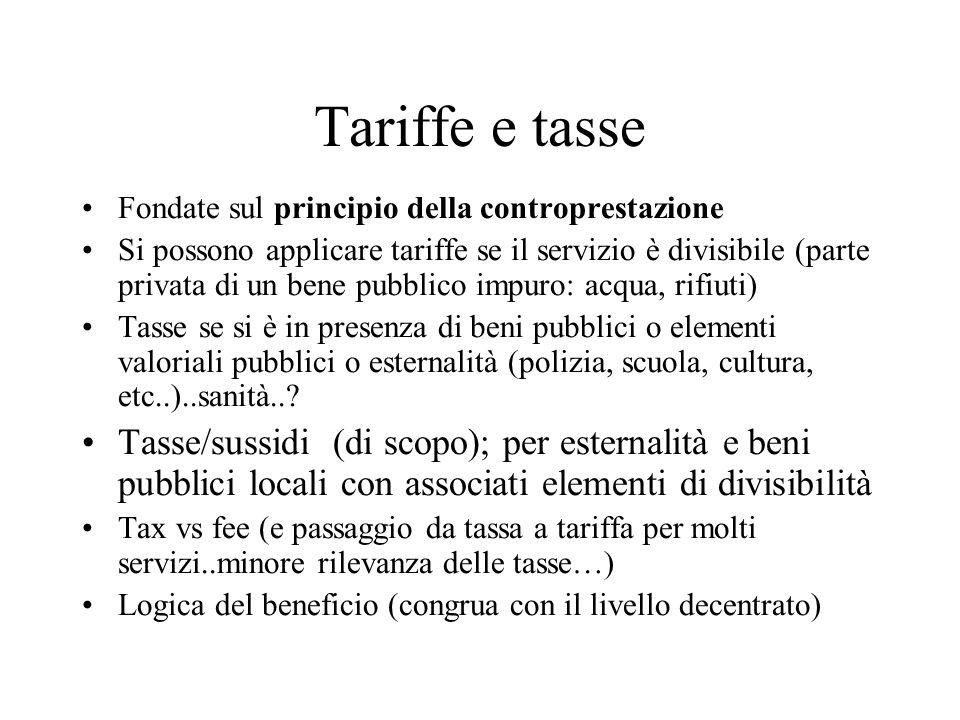 Tariffe e tasse Fondate sul principio della controprestazione.