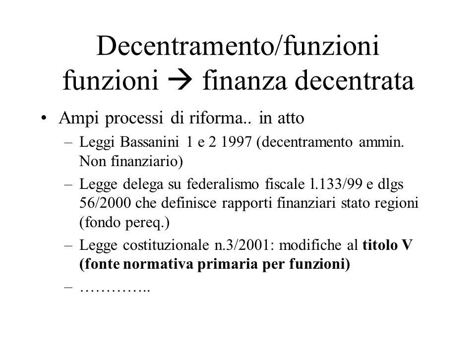 Decentramento/funzioni funzioni  finanza decentrata