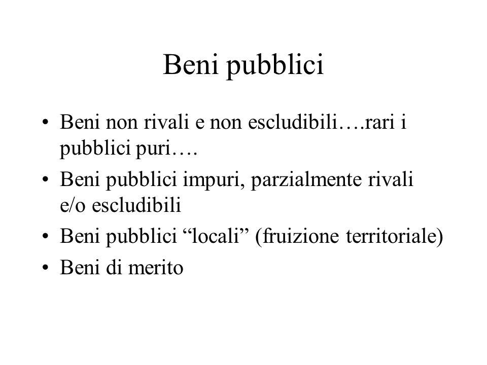 Beni pubblici Beni non rivali e non escludibili….rari i pubblici puri…. Beni pubblici impuri, parzialmente rivali e/o escludibili.