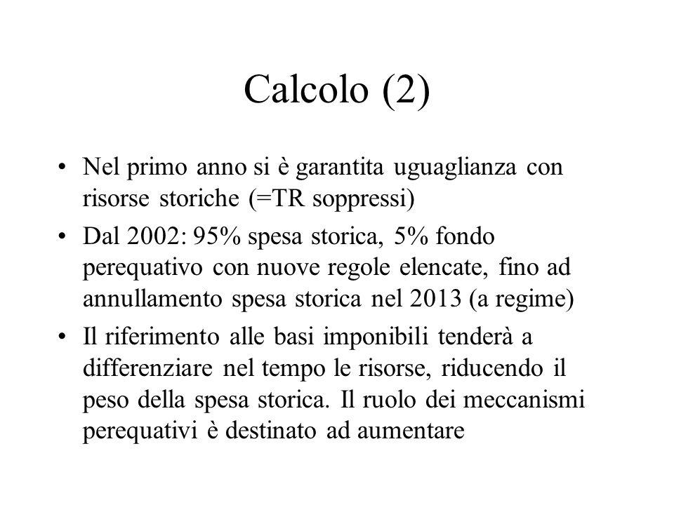 Calcolo (2) Nel primo anno si è garantita uguaglianza con risorse storiche (=TR soppressi)