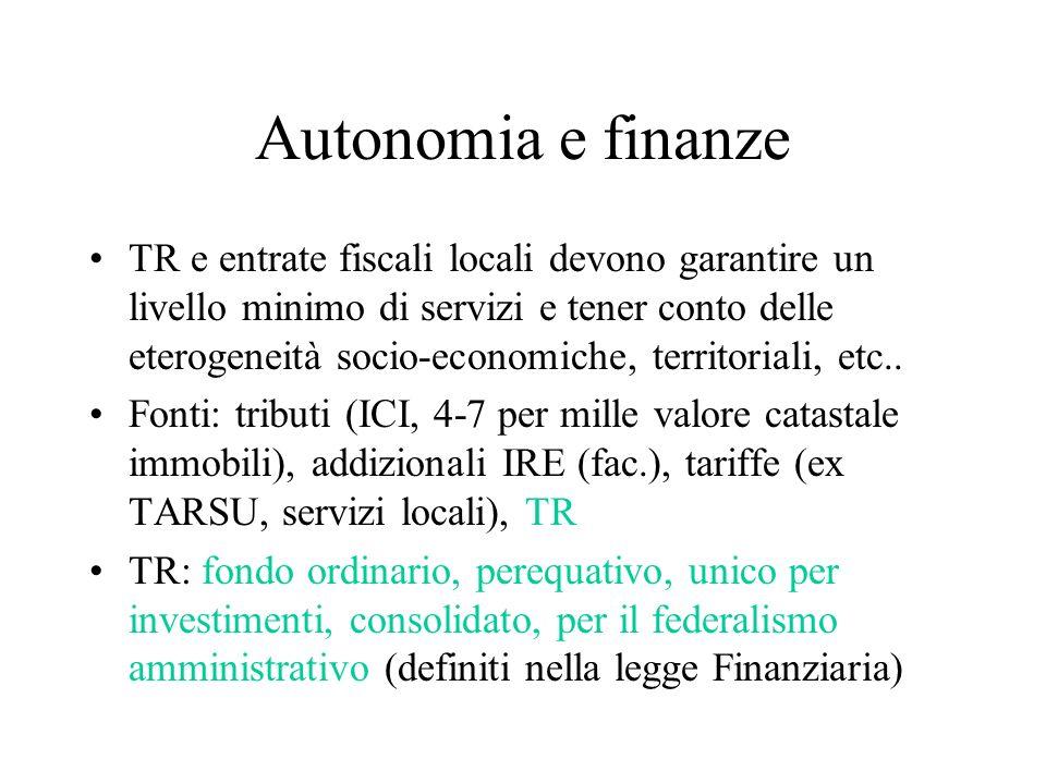 Autonomia e finanze