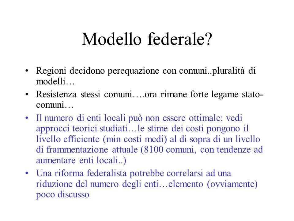Modello federale Regioni decidono perequazione con comuni..pluralità di modelli… Resistenza stessi comuni….ora rimane forte legame stato-comuni…