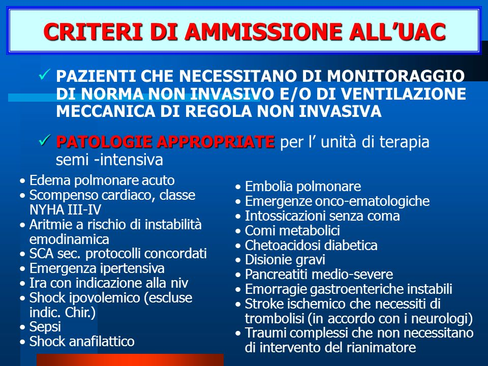 CRITERI DI AMMISSIONE ALL'UAC