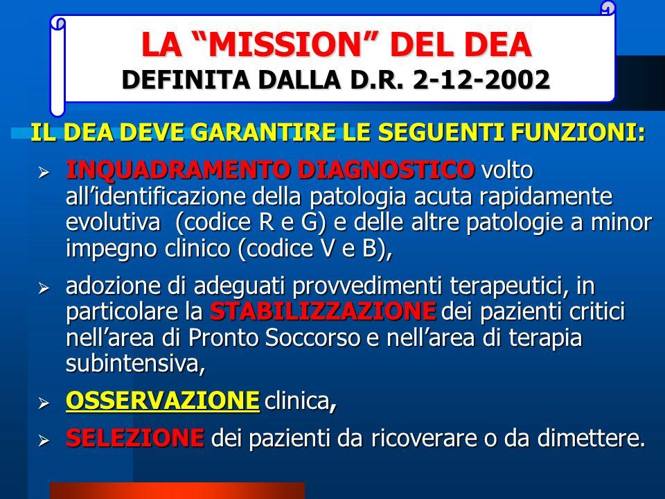 LA MISSION DEL DEA DEFINITA DALLA D.R. 2-12-2002