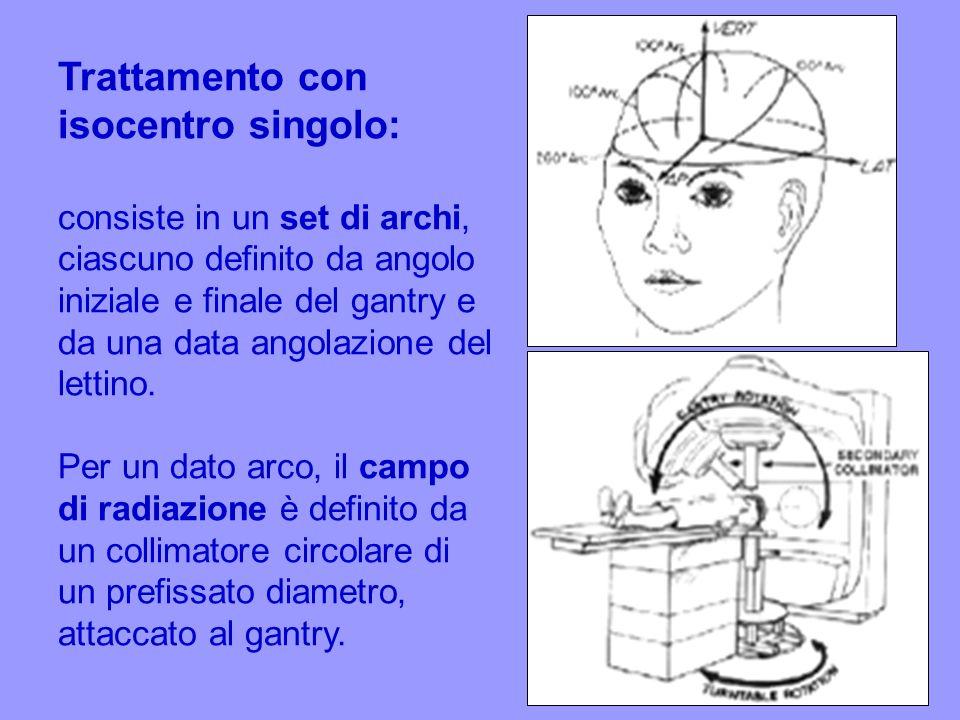 Trattamento con isocentro singolo: consiste in un set di archi, ciascuno definito da angolo iniziale e finale del gantry e da una data angolazione del lettino.