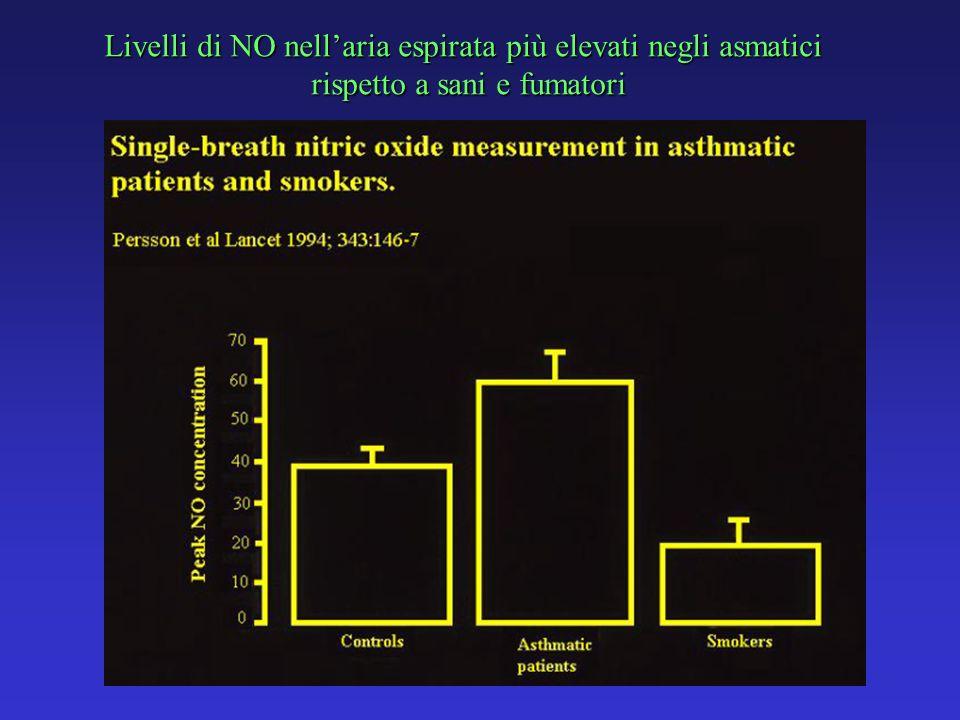 Livelli di NO nell'aria espirata più elevati negli asmatici
